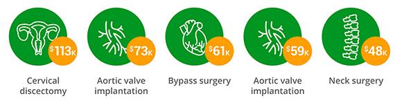$113,000Cervical discectomy $73,000Aortic valve implantation $61,000Bypass surgery $59,000Aortic valve implantation $48,000Neck surgery